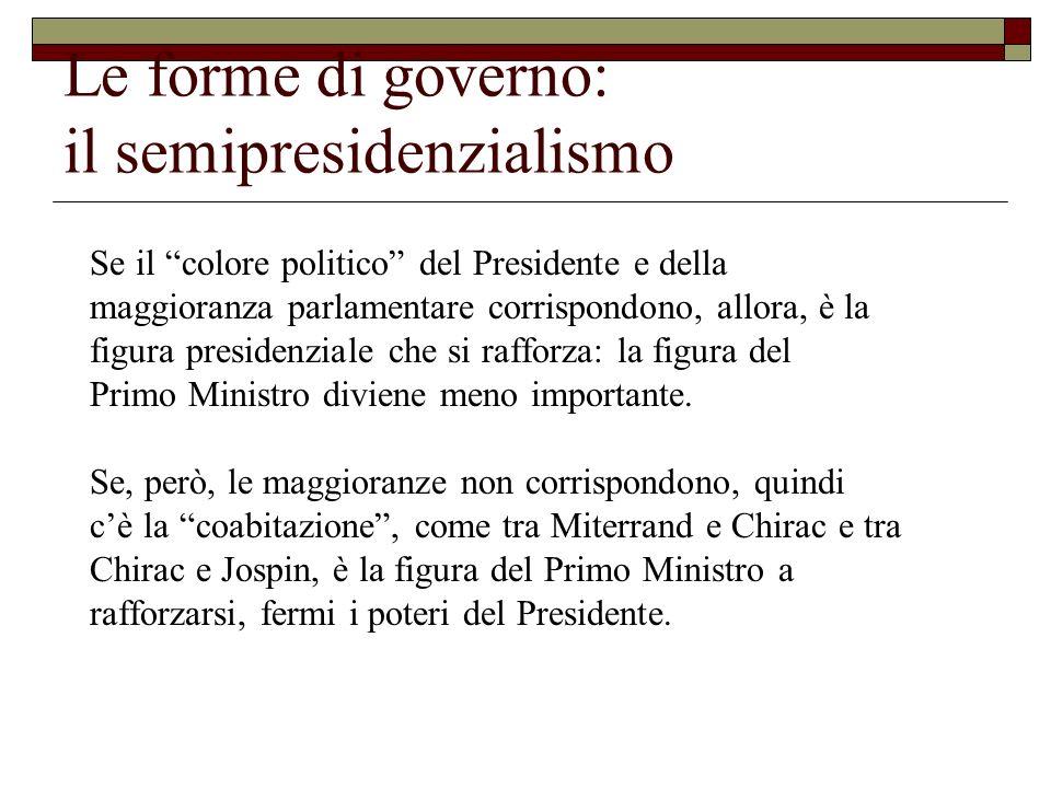 Le forme di governo: il semipresidenzialismo Se il colore politico del Presidente e della maggioranza parlamentare corrispondono, allora, è la figura