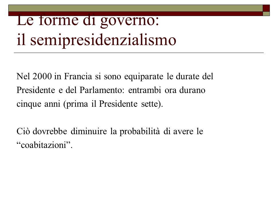 Le forme di governo: il semipresidenzialismo Nel 2000 in Francia si sono equiparate le durate del Presidente e del Parlamento: entrambi ora durano cin