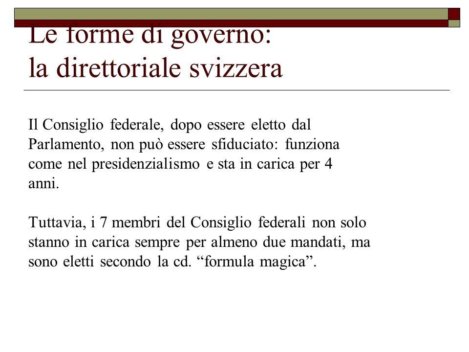 Le forme di governo: la direttoriale svizzera Il Consiglio federale, dopo essere eletto dal Parlamento, non può essere sfiduciato: funziona come nel p