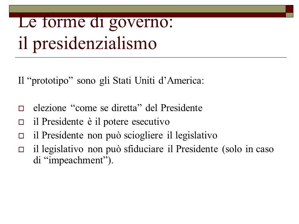 Le forme di governo: il presidenzialismo Il prototipo sono gli Stati Uniti dAmerica: elezione come se diretta del Presidente il Presidente è il potere