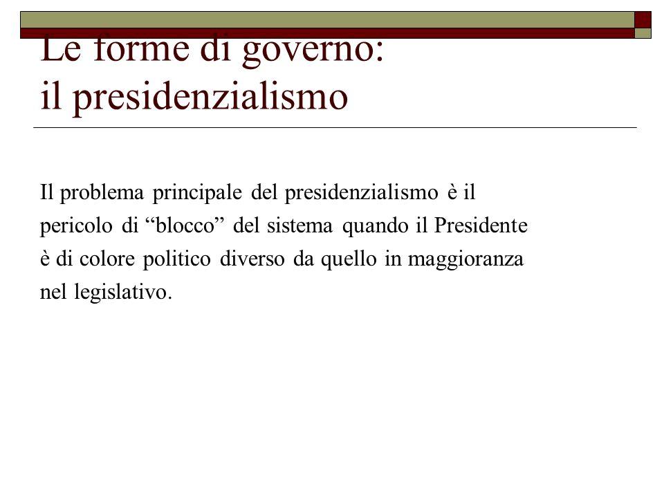 Le forme di governo: il presidenzialismo Il problema principale del presidenzialismo è il pericolo di blocco del sistema quando il Presidente è di col