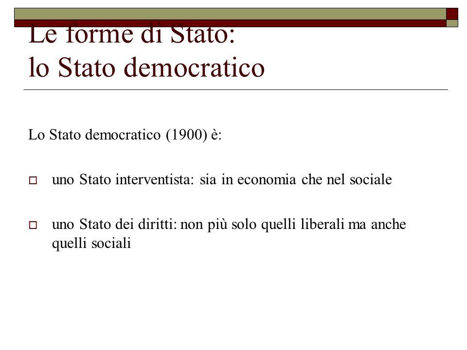 Le forme di Stato: lo Stato democratico Lo Stato democratico (1900) è: uno Stato interventista: sia in economia che nel sociale uno Stato dei diritti: