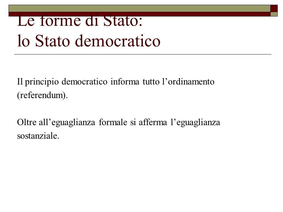 Le forme di Stato: lo Stato democratico Il principio democratico informa tutto lordinamento (referendum). Oltre alleguaglianza formale si afferma legu