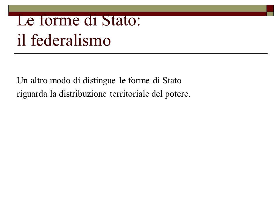 Le forme di Stato: il federalismo Un altro modo di distingue le forme di Stato riguarda la distribuzione territoriale del potere.