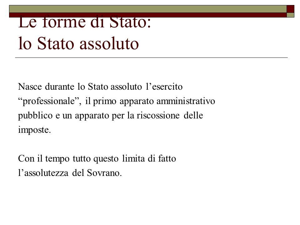Le forme di Stato: lo Stato assoluto Nasce durante lo Stato assoluto lesercito professionale, il primo apparato amministrativo pubblico e un apparato