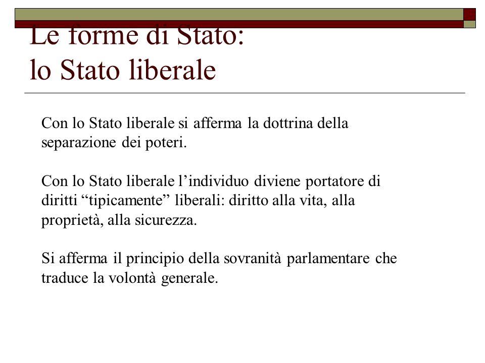 Le forme di Stato: lo Stato liberale Con lo Stato liberale si afferma la dottrina della separazione dei poteri. Con lo Stato liberale lindividuo divie