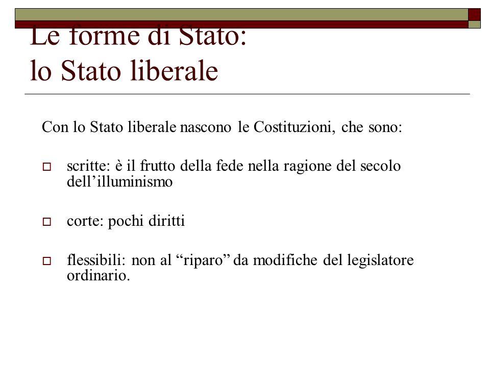 Le forme di Stato: lo Stato liberale Con lo Stato liberale nascono le Costituzioni, che sono: scritte: è il frutto della fede nella ragione del secolo