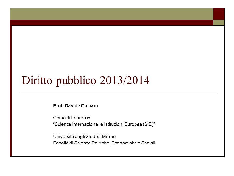 Diritto pubblico 2013/2014 Prof. Davide Galliani Corso di Laurea in Scienze Internazionali e Istituzioni Europee (SIE) Università degli Studi di Milan