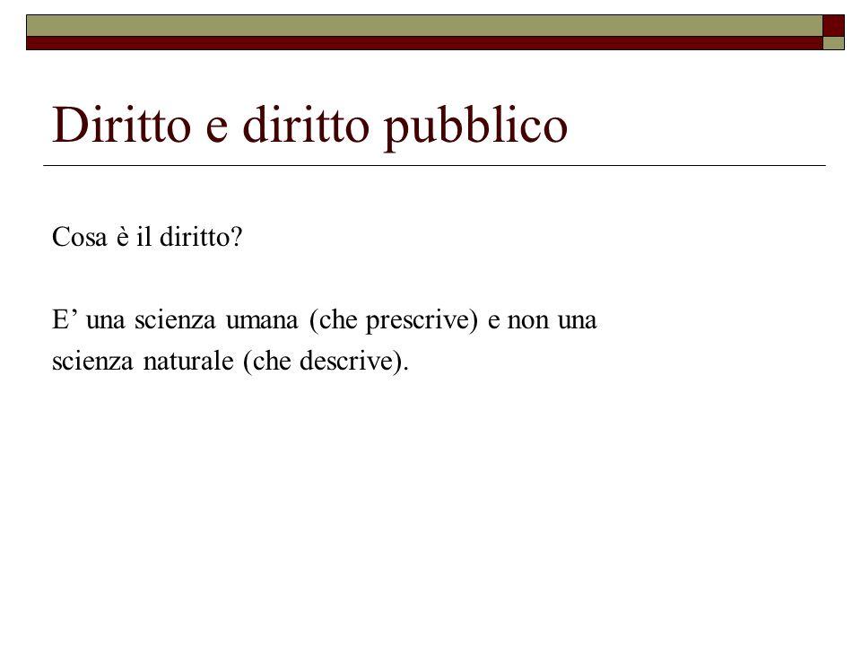 Diritto e diritto pubblico Cosa è il diritto? E una scienza umana (che prescrive) e non una scienza naturale (che descrive).