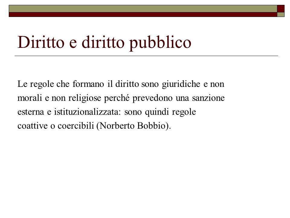 Diritto e diritto pubblico Le regole che formano il diritto sono giuridiche e non morali e non religiose perché prevedono una sanzione esterna e istit