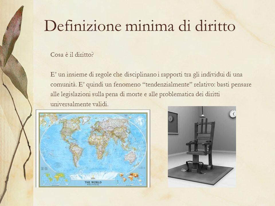 Definizione minima di diritto Cosa è il diritto? E un insieme di regole che disciplinano i rapporti tra gli individui di una comunità. E quindi un fen