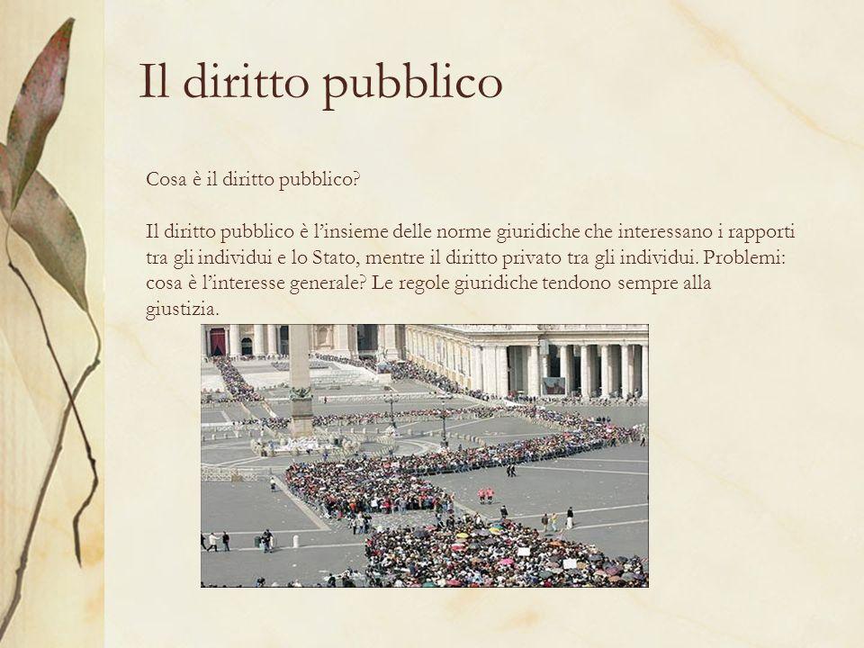 Il diritto pubblico Cosa è il diritto pubblico? Il diritto pubblico è linsieme delle norme giuridiche che interessano i rapporti tra gli individui e l