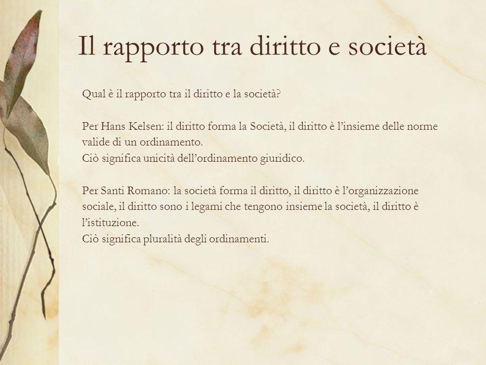 Il rapporto tra diritto e società Qual è il rapporto tra il diritto e la società? Per Hans Kelsen: il diritto forma la Società, il diritto è linsieme