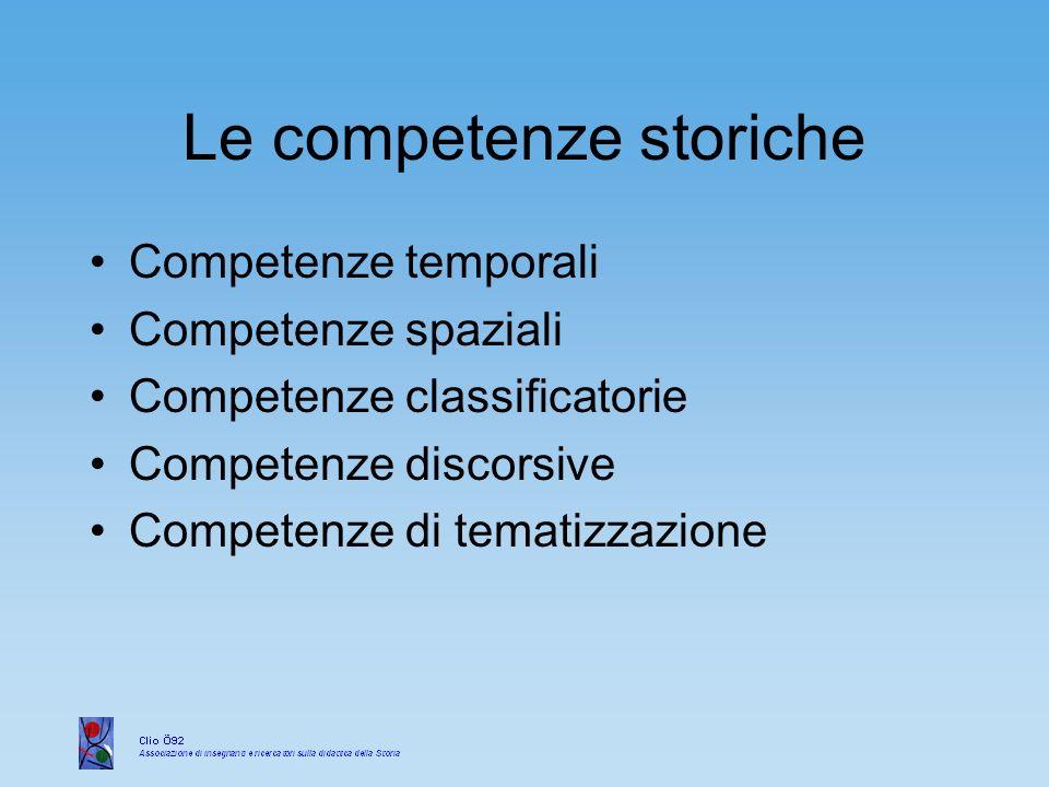 Le competenze storiche Competenze temporali Competenze spaziali Competenze classificatorie Competenze discorsive Competenze di tematizzazione