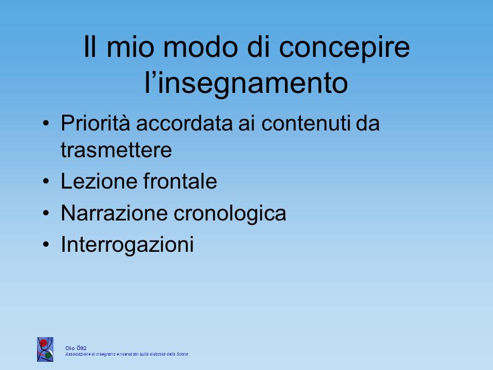 Il ruolo dello studente Lo studente subiva la trasmissione di informazioni storiche Alla fine della trattazione di un argomento, ripeteva le informazioni ricevute