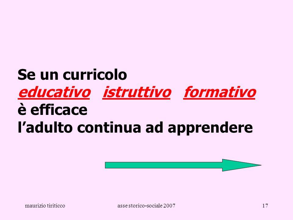 maurizio tiriticcoasse storico-sociale 200717 Se un curricolo educativo istruttivo formativo è efficace ladulto continua ad apprendere