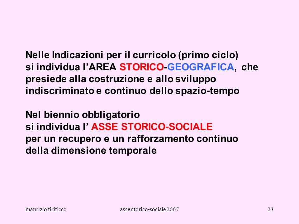 maurizio tiriticcoasse storico-sociale 200723 Nelle Indicazioni per il curricolo (primo ciclo) si individua lAREA STORICO-GEOGRAFICA, che presiede all
