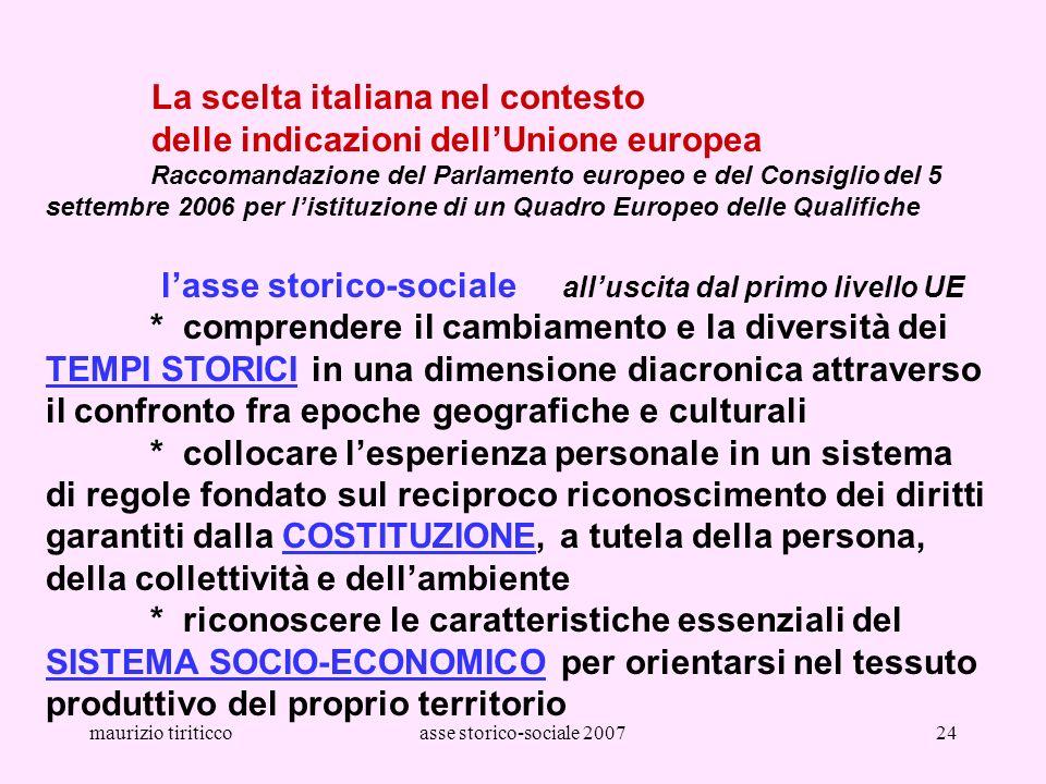maurizio tiriticcoasse storico-sociale 200724 La scelta italiana nel contesto delle indicazioni dellUnione europea Raccomandazione del Parlamento euro