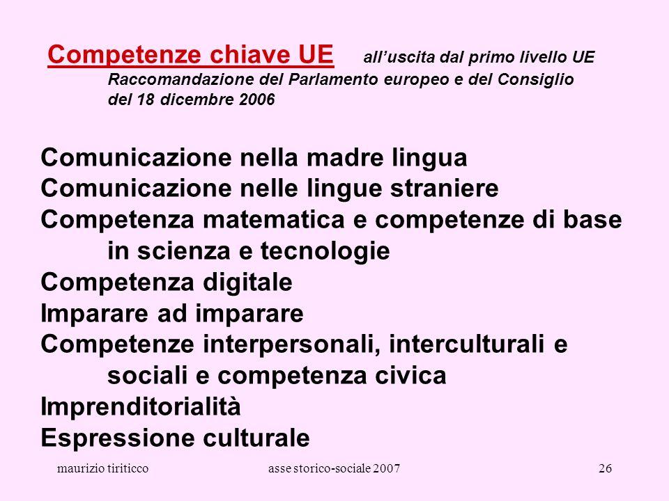 maurizio tiriticcoasse storico-sociale 200726 Competenze chiave UE alluscita dal primo livello UE Raccomandazione del Parlamento europeo e del Consigl