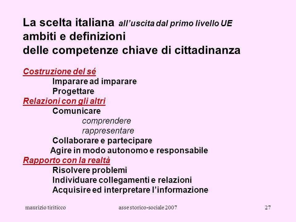 maurizio tiriticcoasse storico-sociale 200727 La scelta italiana alluscita dal primo livello UE ambiti e definizioni delle competenze chiave di cittad