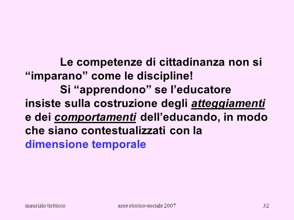 maurizio tiriticcoasse storico-sociale 200732 Le competenze di cittadinanza non si imparano come le discipline! Si apprendono se leducatore insiste su