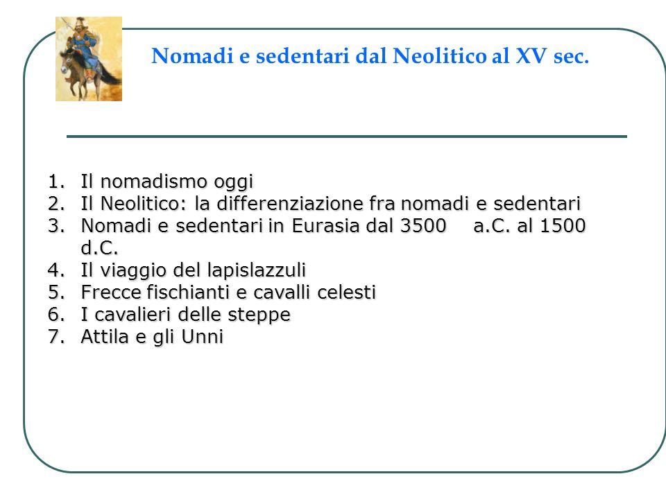 1.Il nomadismo oggi 2.Il Neolitico: la differenziazione fra nomadi e sedentari 3.Nomadi e sedentari in Eurasia dal 3500 a.C. al 1500 d.C. 4.Il viaggio