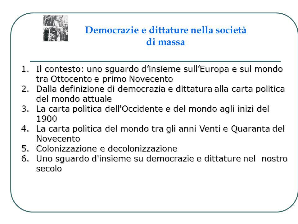 1.Il contesto: uno sguardo dinsieme sullEuropa e sul mondo tra Ottocento e primo Novecento 2.Dalla definizione di democrazia e dittatura alla carta po
