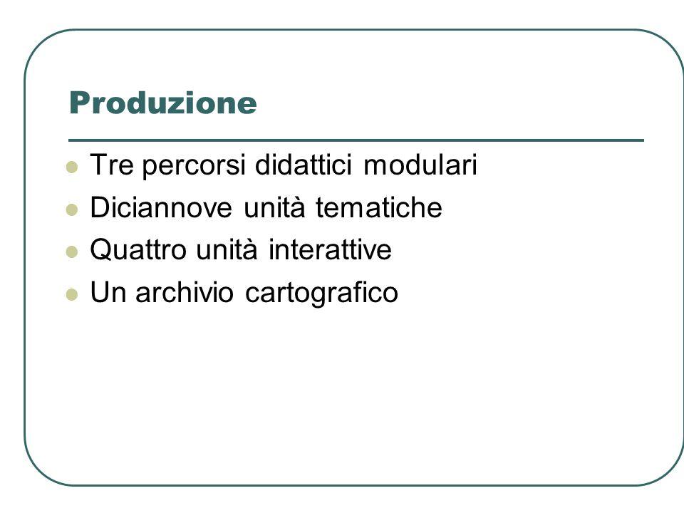 Produzione Tre percorsi didattici modulari Diciannove unità tematiche Quattro unità interattive Un archivio cartografico