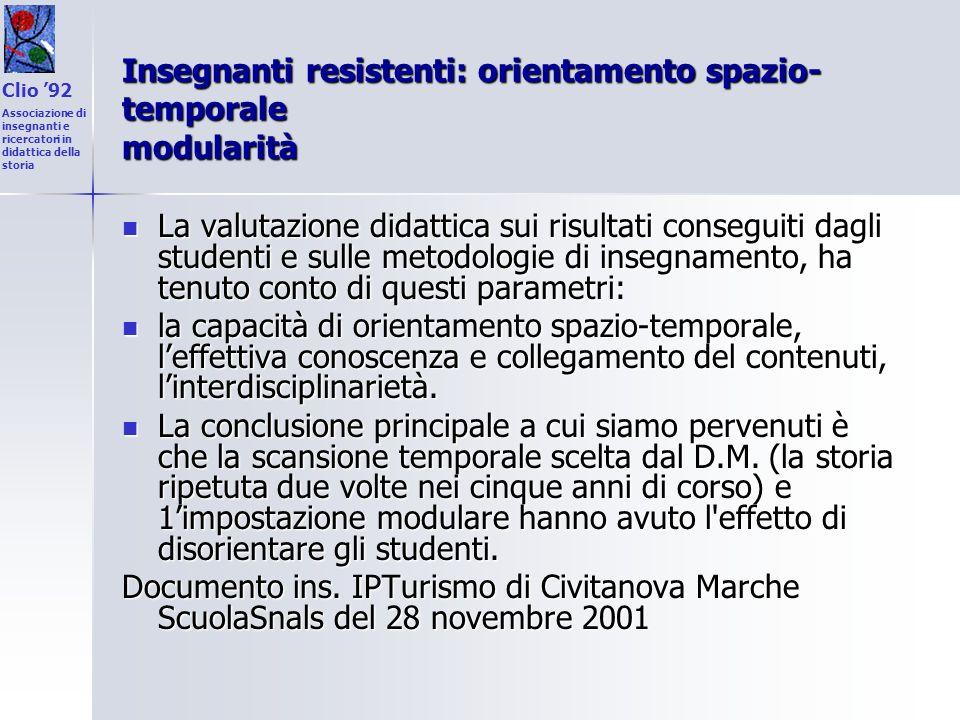 Insegnanti resistenti: orientamento spazio- temporale modularità La valutazione didattica sui risultati conseguiti dagli studenti e sulle metodologie