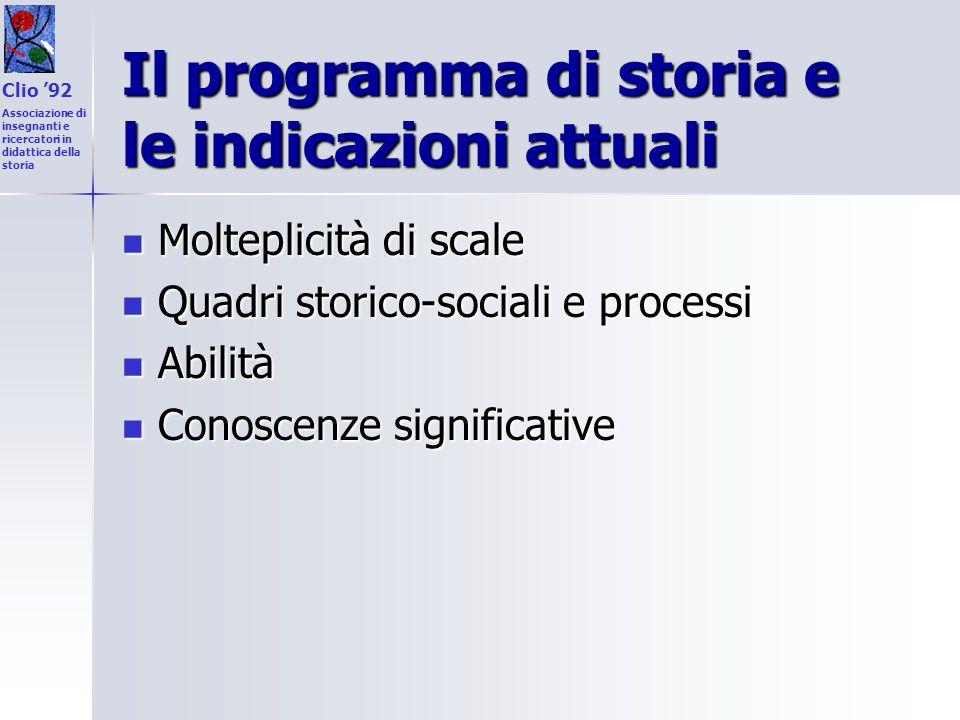 Il programma di storia e le indicazioni attuali Molteplicità di scale Molteplicità di scale Quadri storico-sociali e processi Quadri storico-sociali e