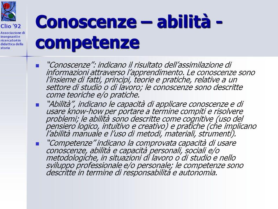 Conoscenze – abilità - competenze Conoscenze: indicano il risultato dellassimilazione di informazioni attraverso lapprendimento. Le conoscenze sono li