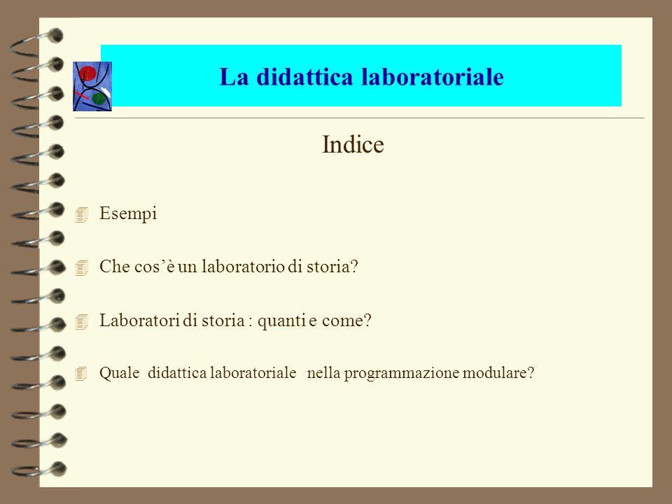 La didattica laboratoriale Indice 4 Esempi 4 Che cosè un laboratorio di storia? 4 Laboratori di storia : quanti e come? Quale didattica laboratoriale