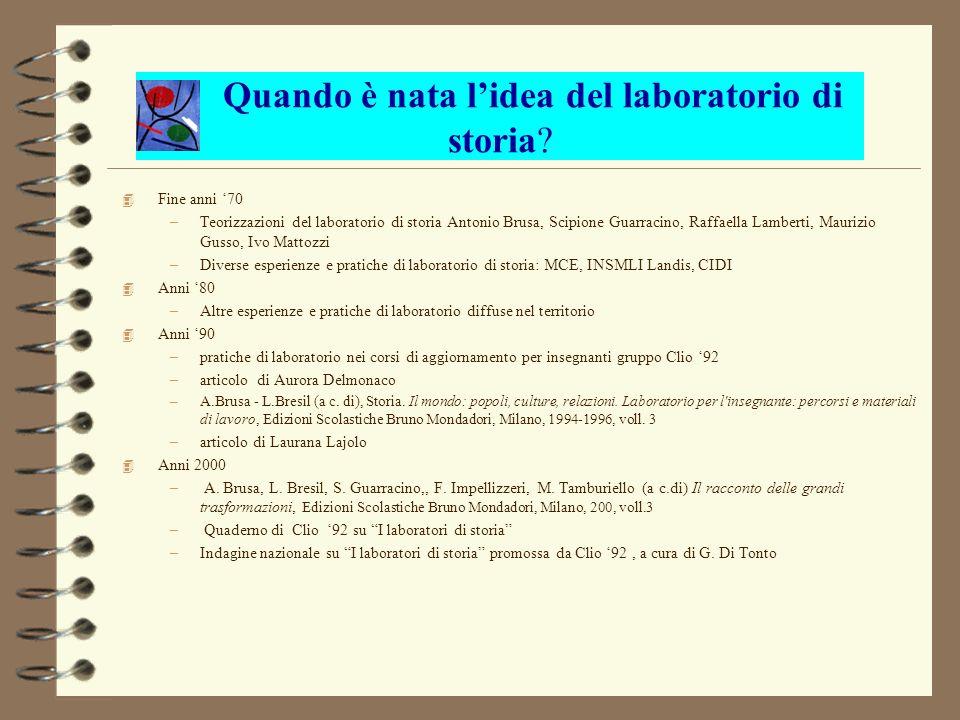 Laboratorio di storia: alcuni esempi 4 Tracce classe prima elementare - Scuola Collodi IC2 Suzzara (MN) Insegnanti: Germana Barbieri, Enrica Manfredotti 4 I numeri dellOlocausto classe IV sc.
