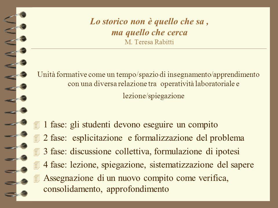 Lo storico non è quello che sa, ma quello che cerca M. Teresa Rabitti Unità formative come un tempo/spazio di insegnamento/apprendimento con una diver