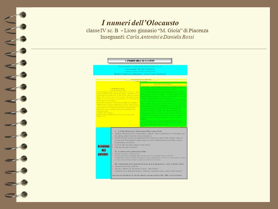 I numeri dellOlocausto classe IV sc. B - Liceo ginnasio M. Gioia di Piacenza Insegnanti: Carla Antonini e Daniela Rossi