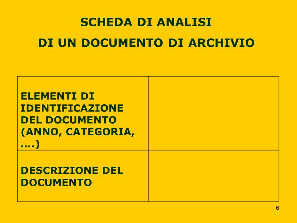 6 SCHEDA DI ANALISI DI UN DOCUMENTO DI ARCHIVIO ELEMENTI DI IDENTIFICAZIONE DEL DOCUMENTO (ANNO, CATEGORIA, ….) DESCRIZIONE DEL DOCUMENTO