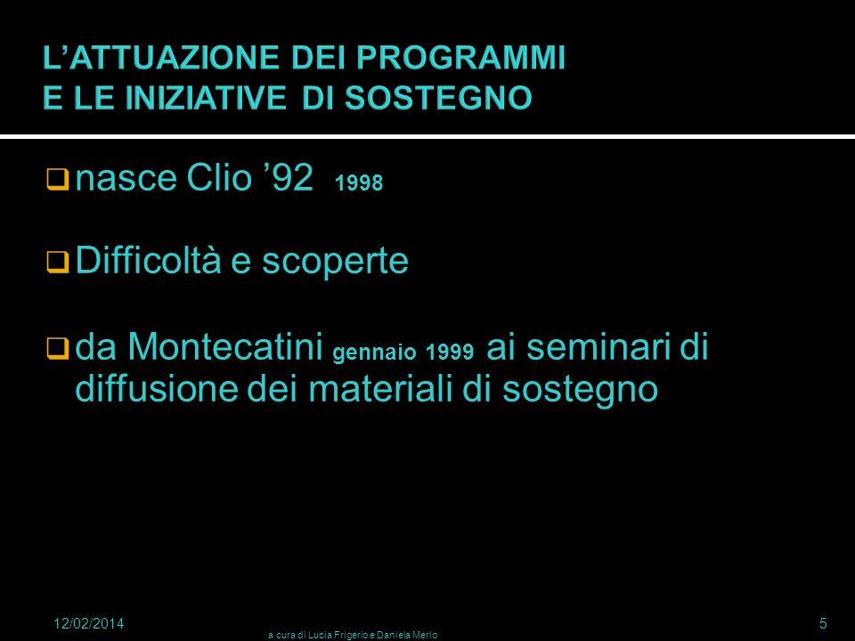 nasce Clio 92 1998 Difficoltà e scoperte da Montecatini gennaio 1999 ai seminari di diffusione dei materiali di sostegno 12/02/2014 a cura di Lucia Fr