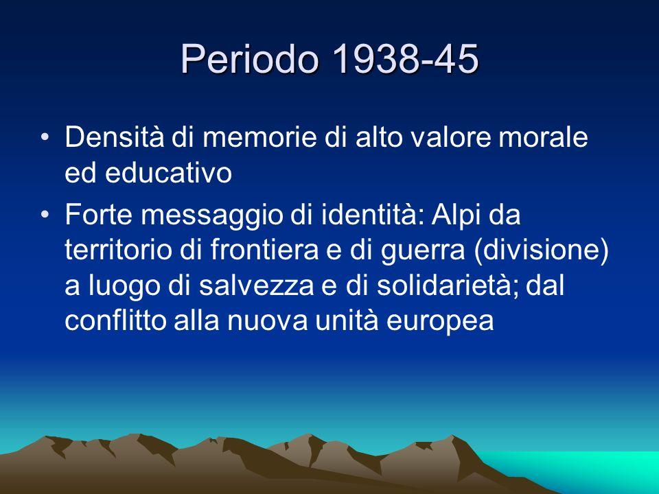 Periodo 1938-45 Densità di memorie di alto valore morale ed educativo Forte messaggio di identità: Alpi da territorio di frontiera e di guerra (divisi