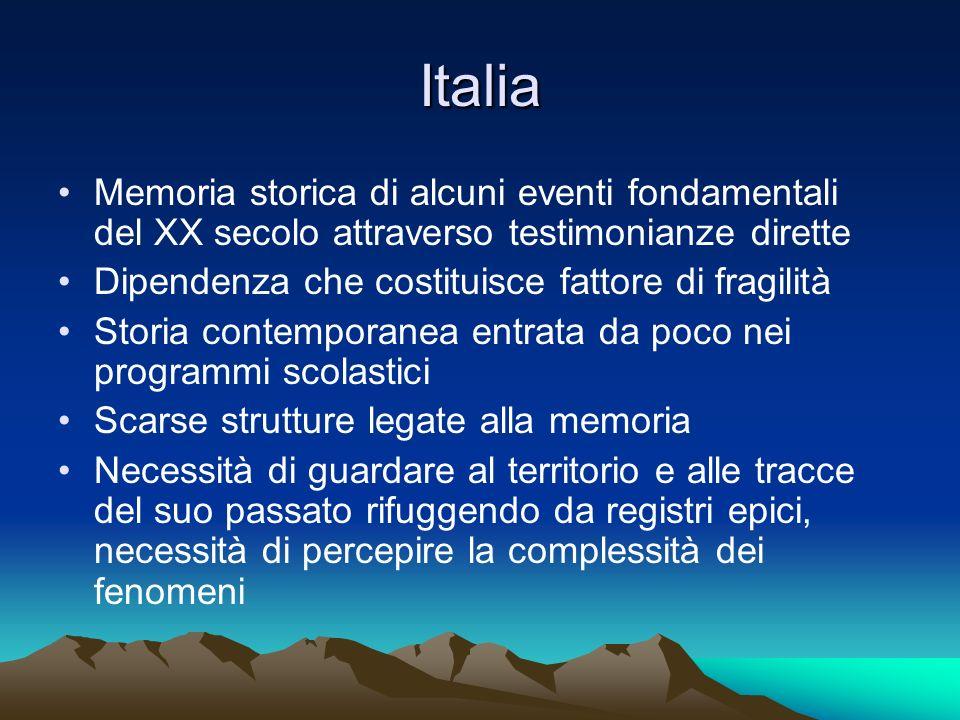 Italia Memoria storica di alcuni eventi fondamentali del XX secolo attraverso testimonianze dirette Dipendenza che costituisce fattore di fragilità St