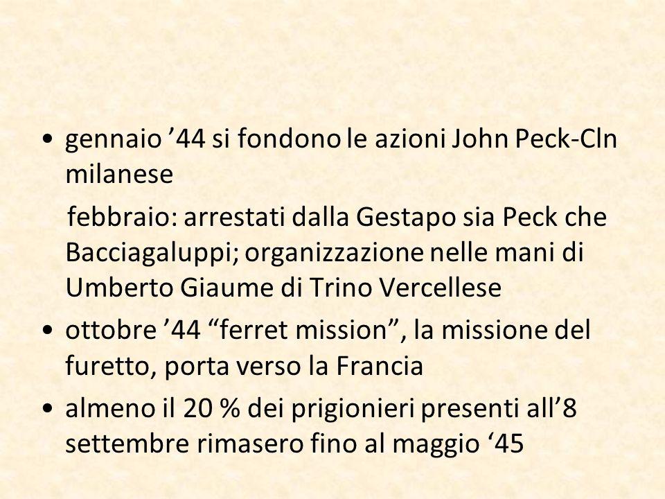 gennaio 44 si fondono le azioni John Peck-Cln milanese febbraio: arrestati dalla Gestapo sia Peck che Bacciagaluppi; organizzazione nelle mani di Umbe