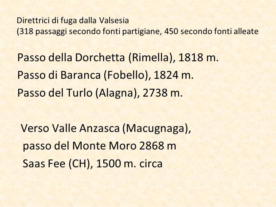 Direttrici di fuga dalla Valsesia (318 passaggi secondo fonti partigiane, 450 secondo fonti alleate Passo della Dorchetta (Rimella), 1818 m. Passo di
