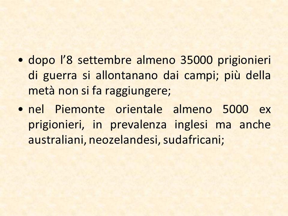 dopo l8 settembre almeno 35000 prigionieri di guerra si allontanano dai campi; più della metà non si fa raggiungere; nel Piemonte orientale almeno 500