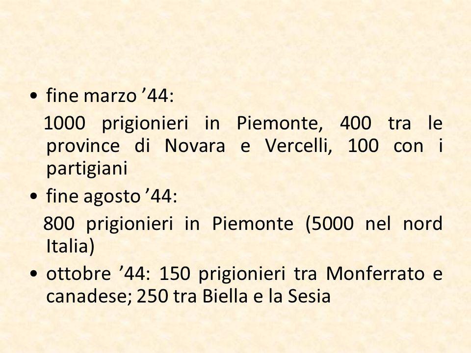 fine marzo 44: 1000 prigionieri in Piemonte, 400 tra le province di Novara e Vercelli, 100 con i partigiani fine agosto 44: 800 prigionieri in Piemont