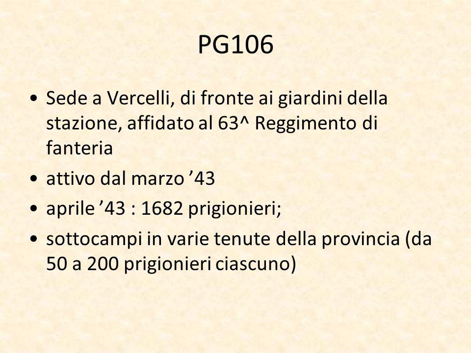 PG106 Sede a Vercelli, di fronte ai giardini della stazione, affidato al 63^ Reggimento di fanteria attivo dal marzo 43 aprile 43 : 1682 prigionieri;