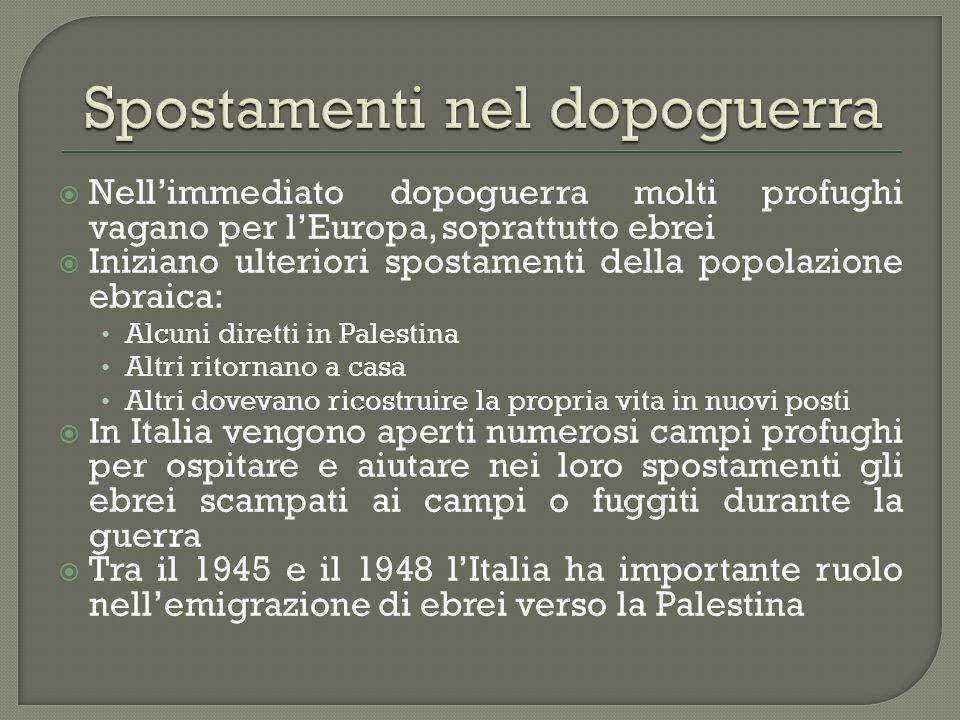 Nellimmediato dopoguerra molti profughi vagano per lEuropa, soprattutto ebrei Iniziano ulteriori spostamenti della popolazione ebraica: Alcuni diretti
