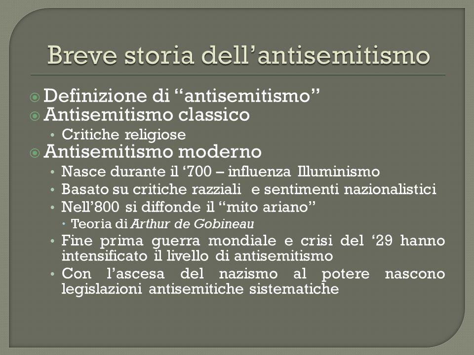 Definizione di antisemitismo Antisemitismo classico Critiche religiose Antisemitismo moderno Nasce durante il 700 – influenza Illuminismo Basato su cr