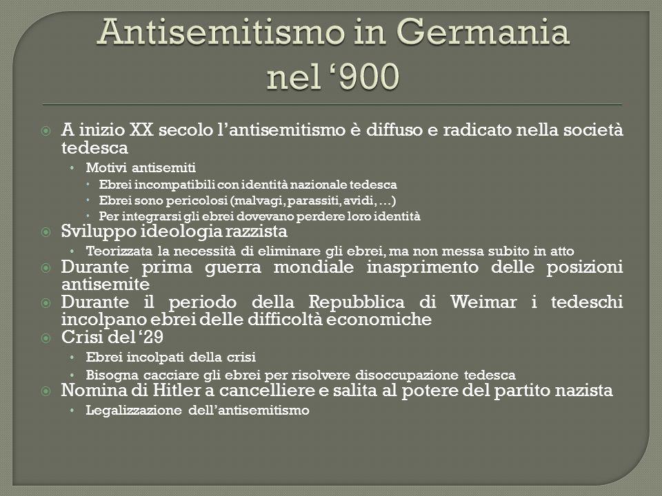 A inizio XX secolo lantisemitismo è diffuso e radicato nella società tedesca Motivi antisemiti Ebrei incompatibili con identità nazionale tedesca Ebre