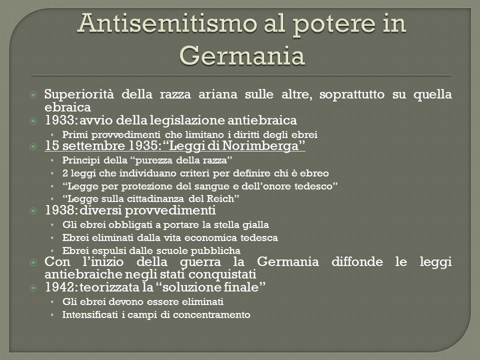 Superiorità della razza ariana sulle altre, soprattutto su quella ebraica 1933: avvio della legislazione antiebraica Primi provvedimenti che limitano