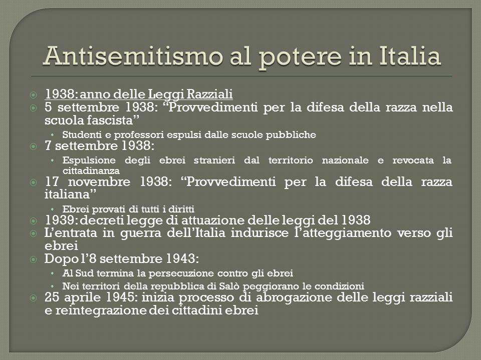 1938: anno delle Leggi Razziali 5 settembre 1938: Provvedimenti per la difesa della razza nella scuola fascista Studenti e professori espulsi dalle sc