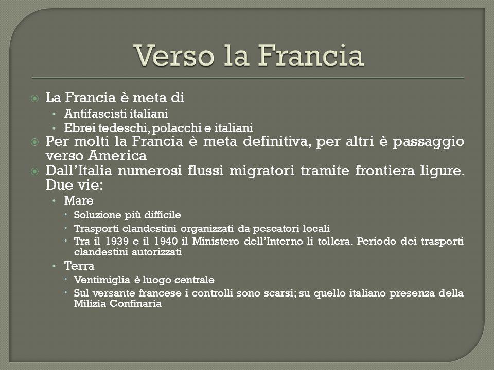 La Francia è meta di Antifascisti italiani Ebrei tedeschi, polacchi e italiani Per molti la Francia è meta definitiva, per altri è passaggio verso Ame